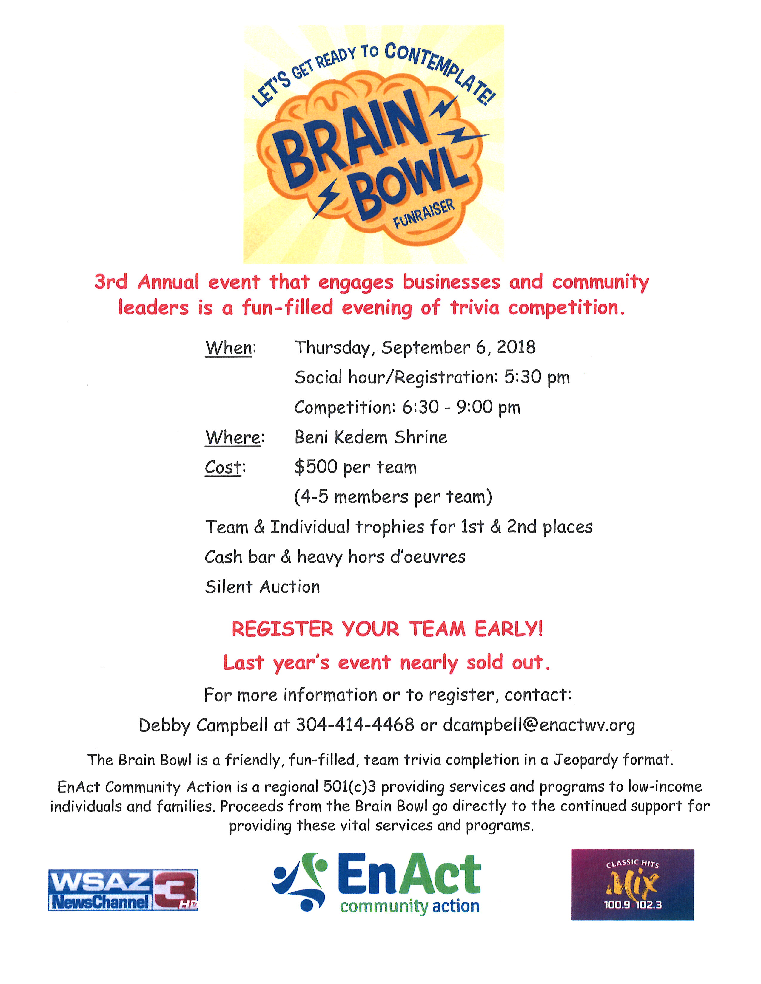 Brain Bowl 2018 Flyer