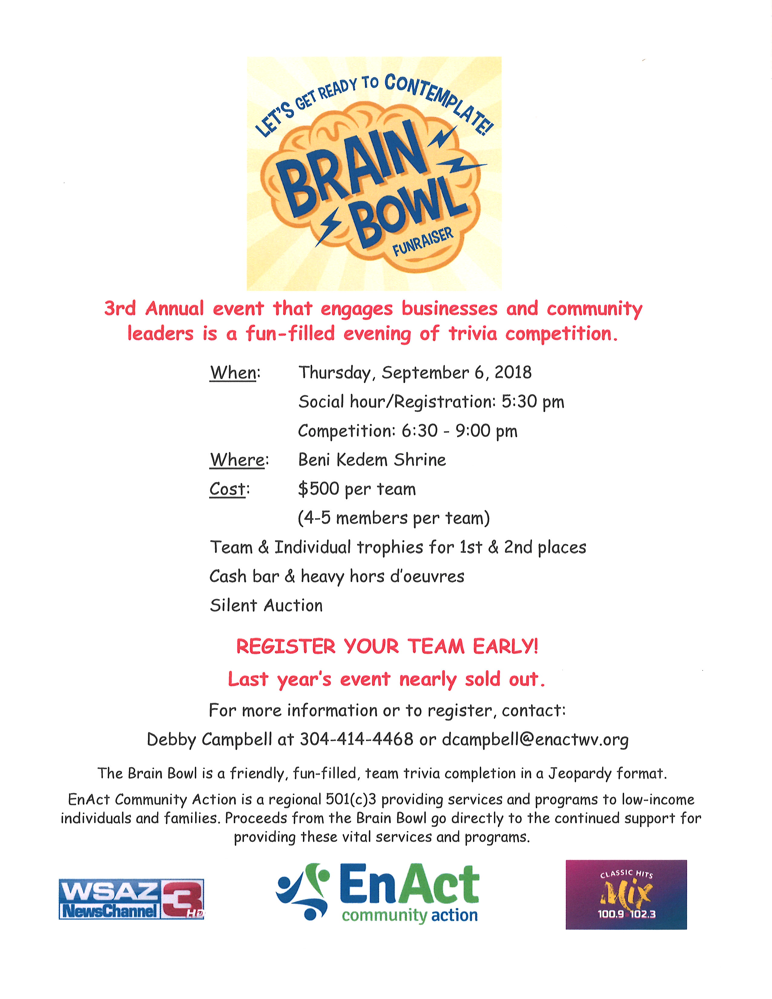 Brain Bowl 2018 Flyer